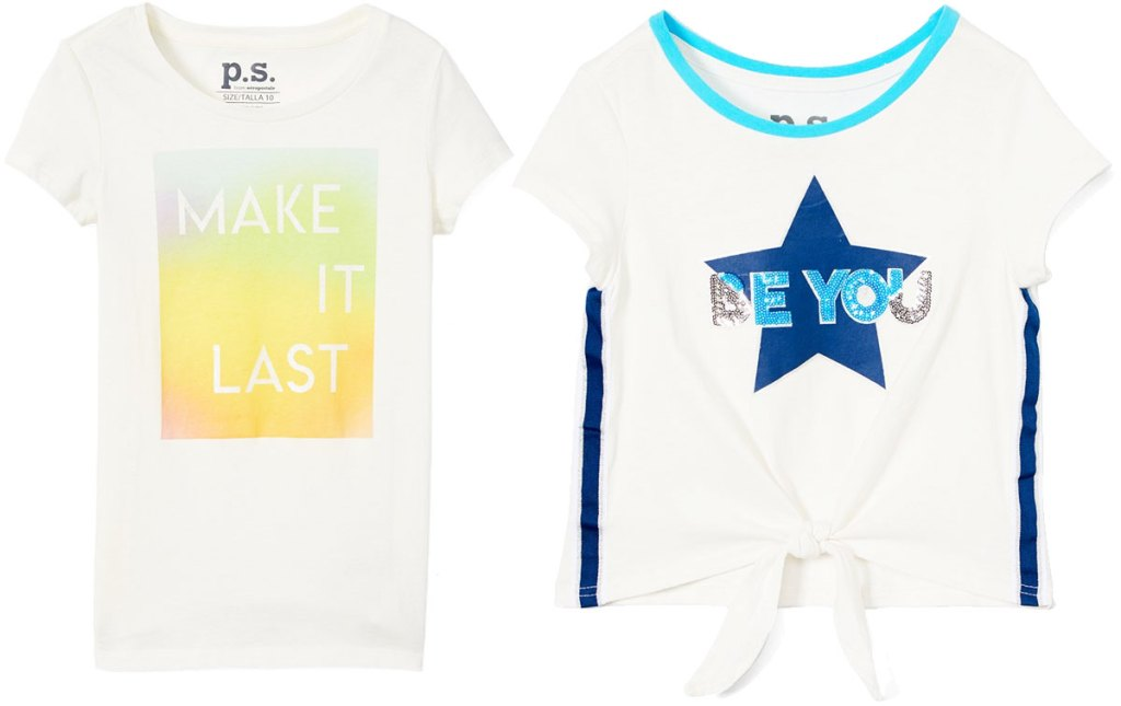 white graphic tee that says make it last and white front tie tee that says be you with a sequin star