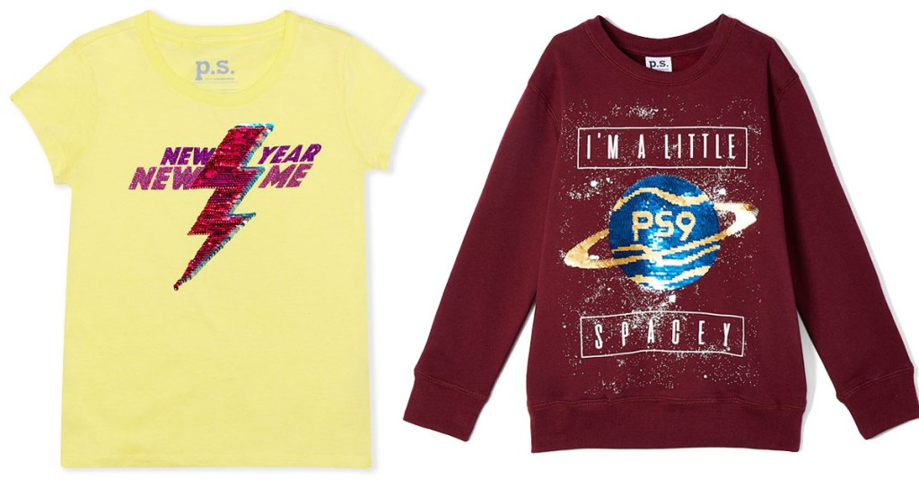 yellow sequin top that says new year new me and red sweatshirt with space them that says im a little spacey