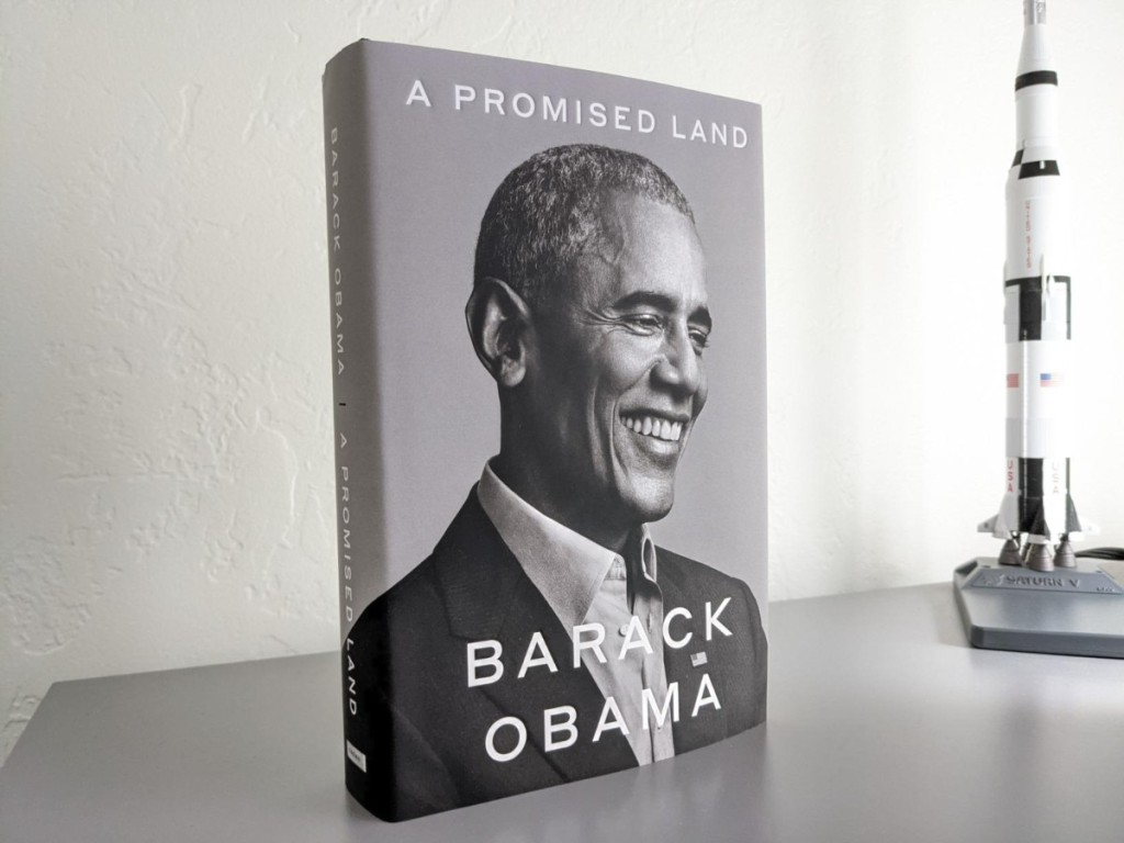 hardcover book with Barack Obama on cover