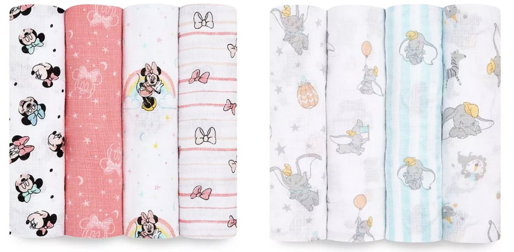 two 4-pack sets of disney printed baby swaddle blankets