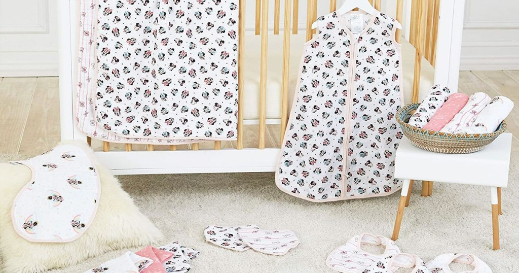 nursery with disney minnie mouse print baby accessories all around