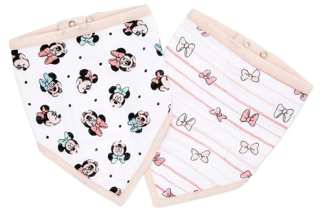 two pink and white bandana shaped bibs with minnie mouse print