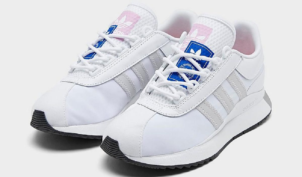 women's white, gray, blue, and pink shoes