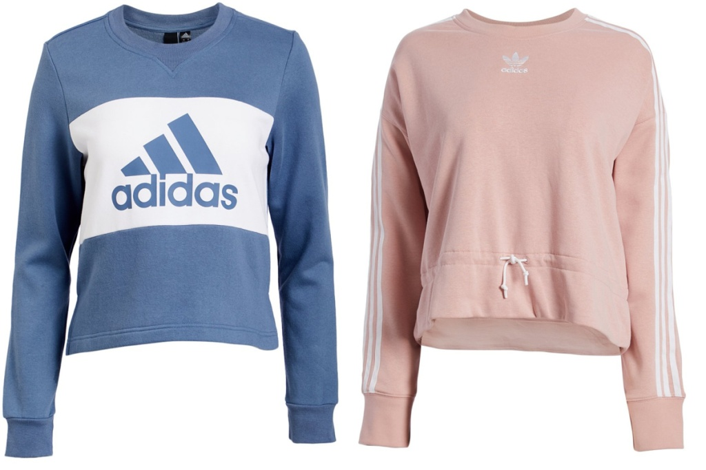 adidas crewneck sweaters blue and pink