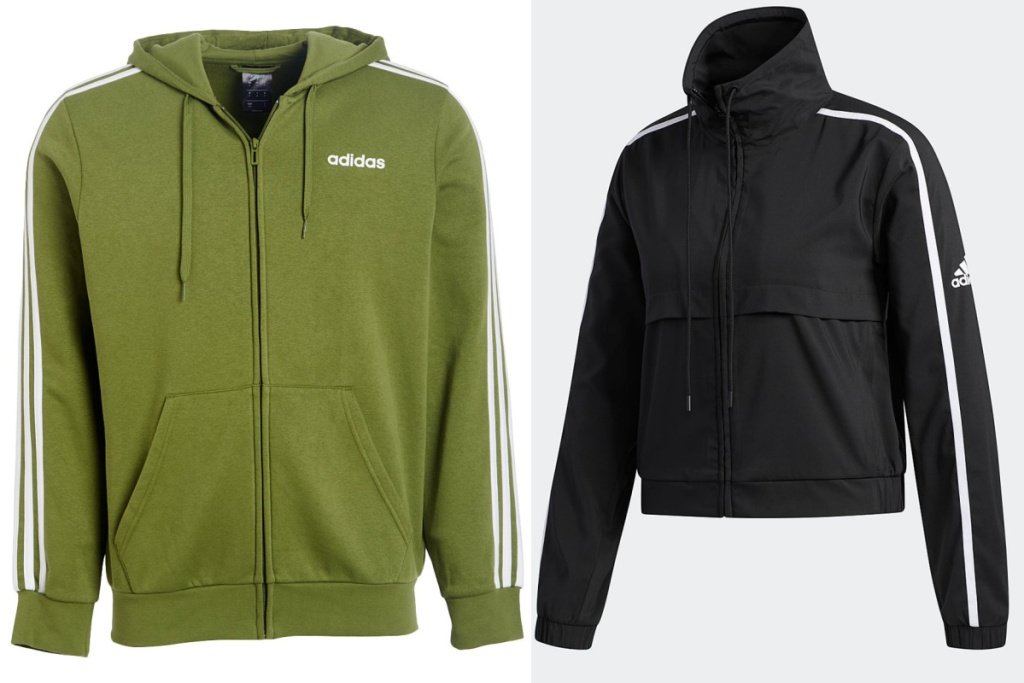 adidas zip up jackets in olive and black