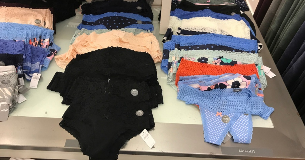 variety of aerie underwear in store