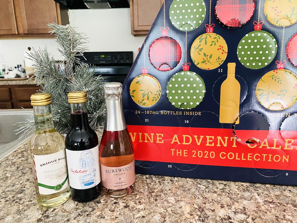 ALDI wine advent calendar with wine bottles on counter