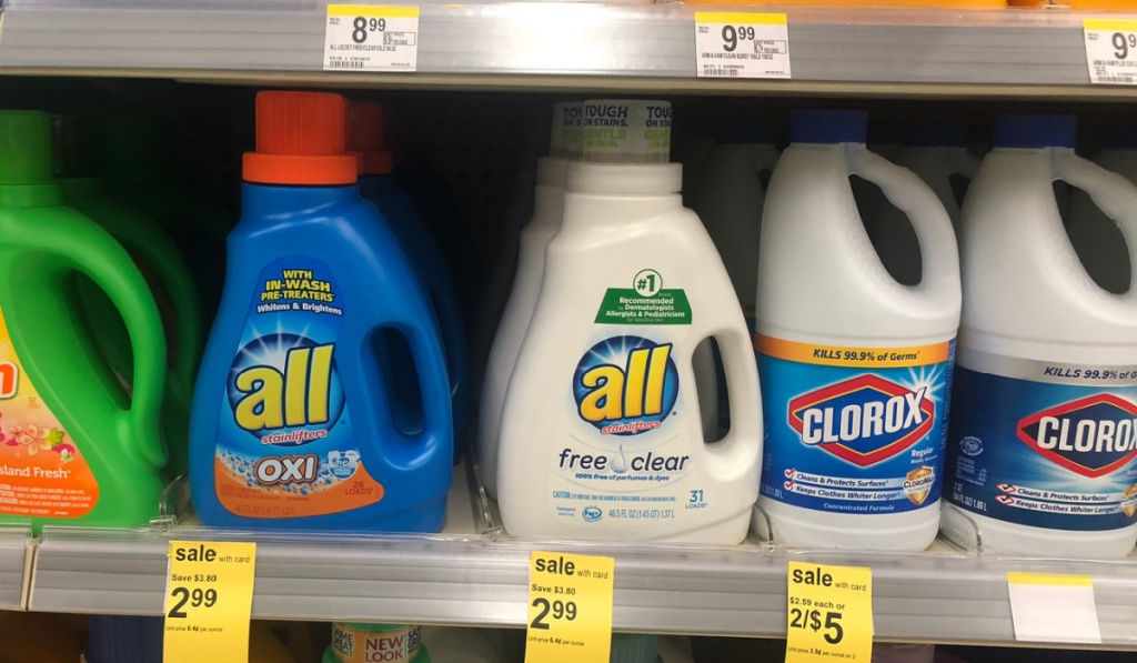 all detergent in store on shelf