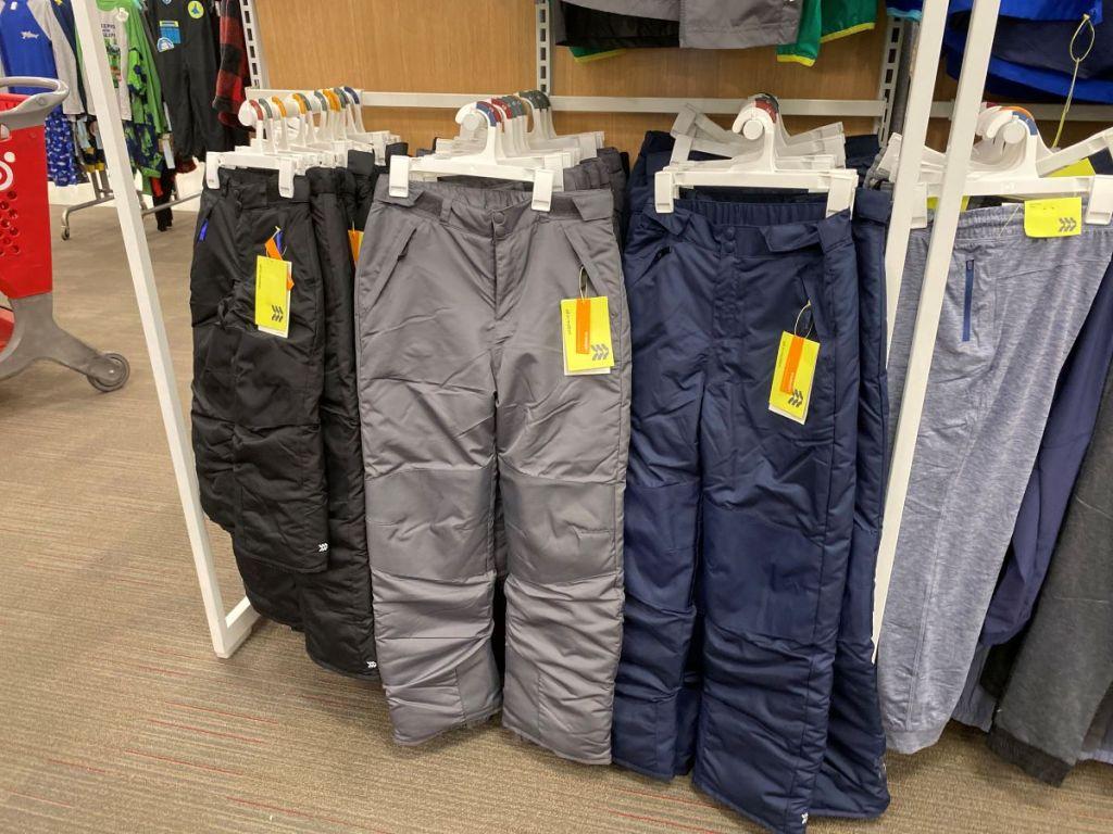 display of snow pants at Target