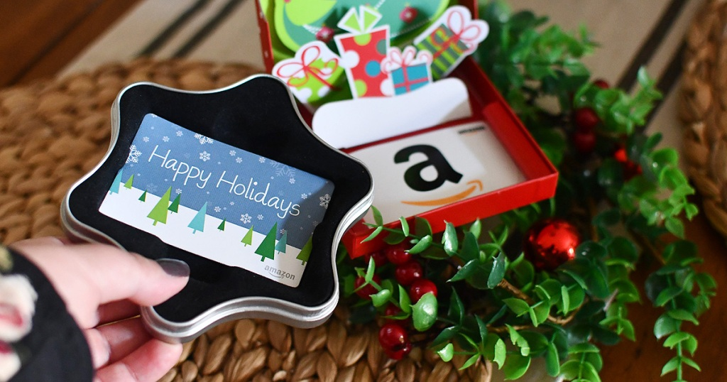 amazon holiday gift cards on table