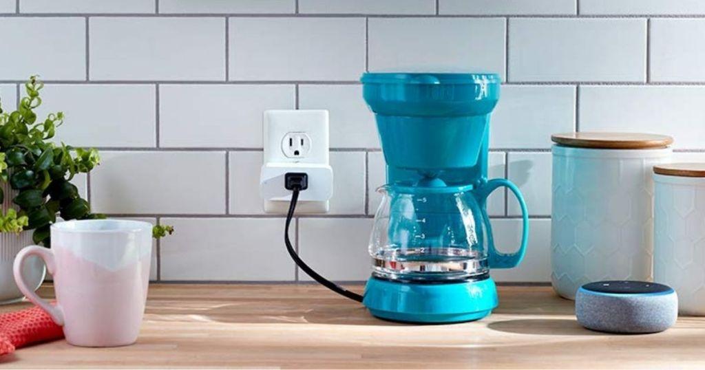 blue coffee machine plugged into amazon smart plug