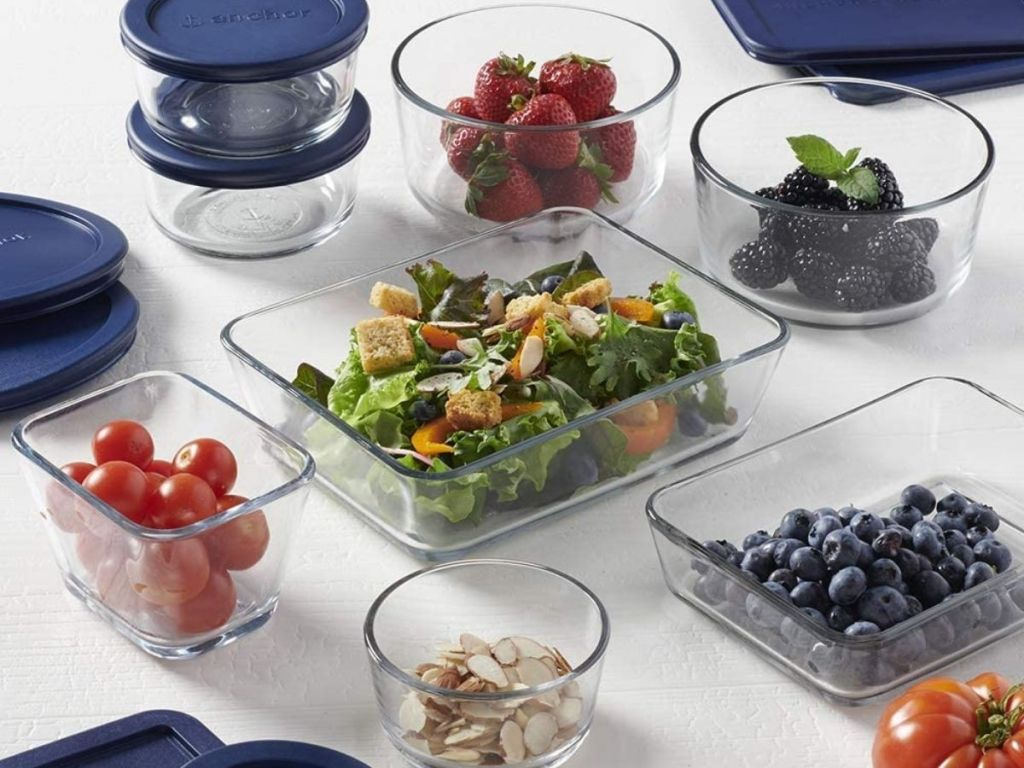 navy lids and glass containers