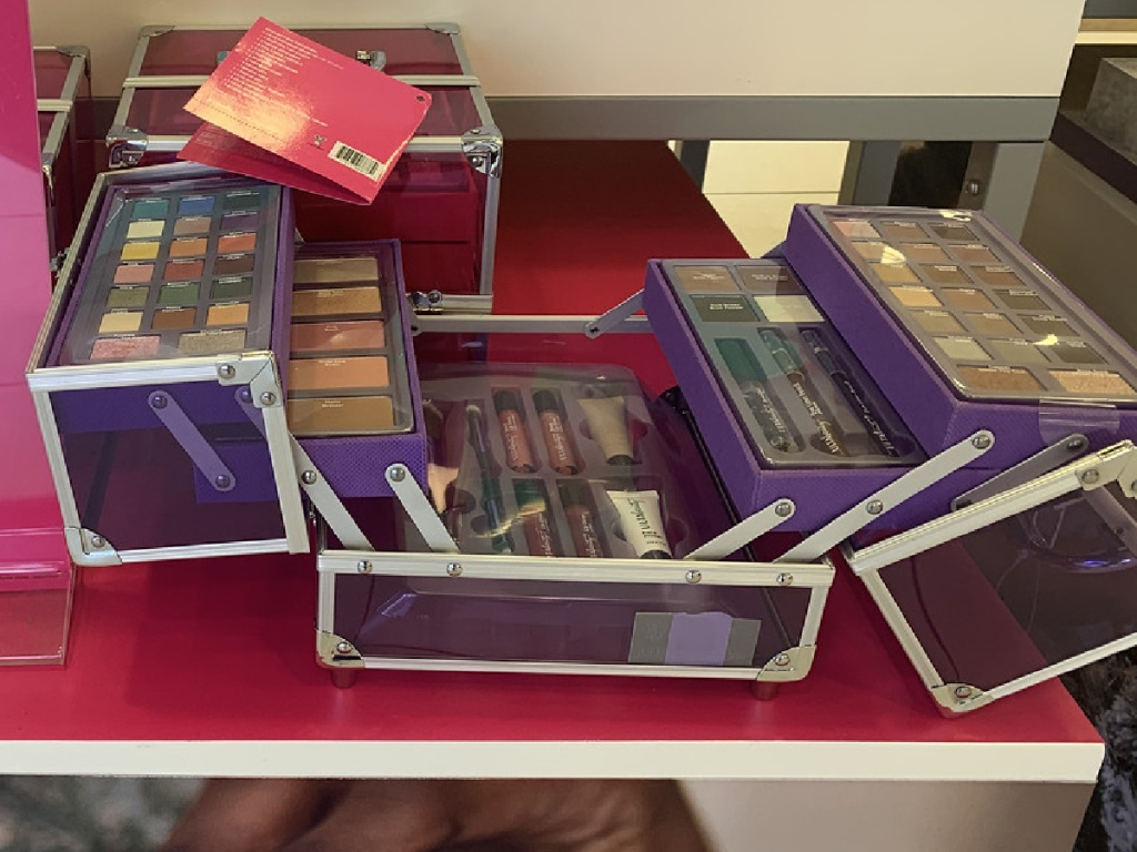 box full of make up on display in store