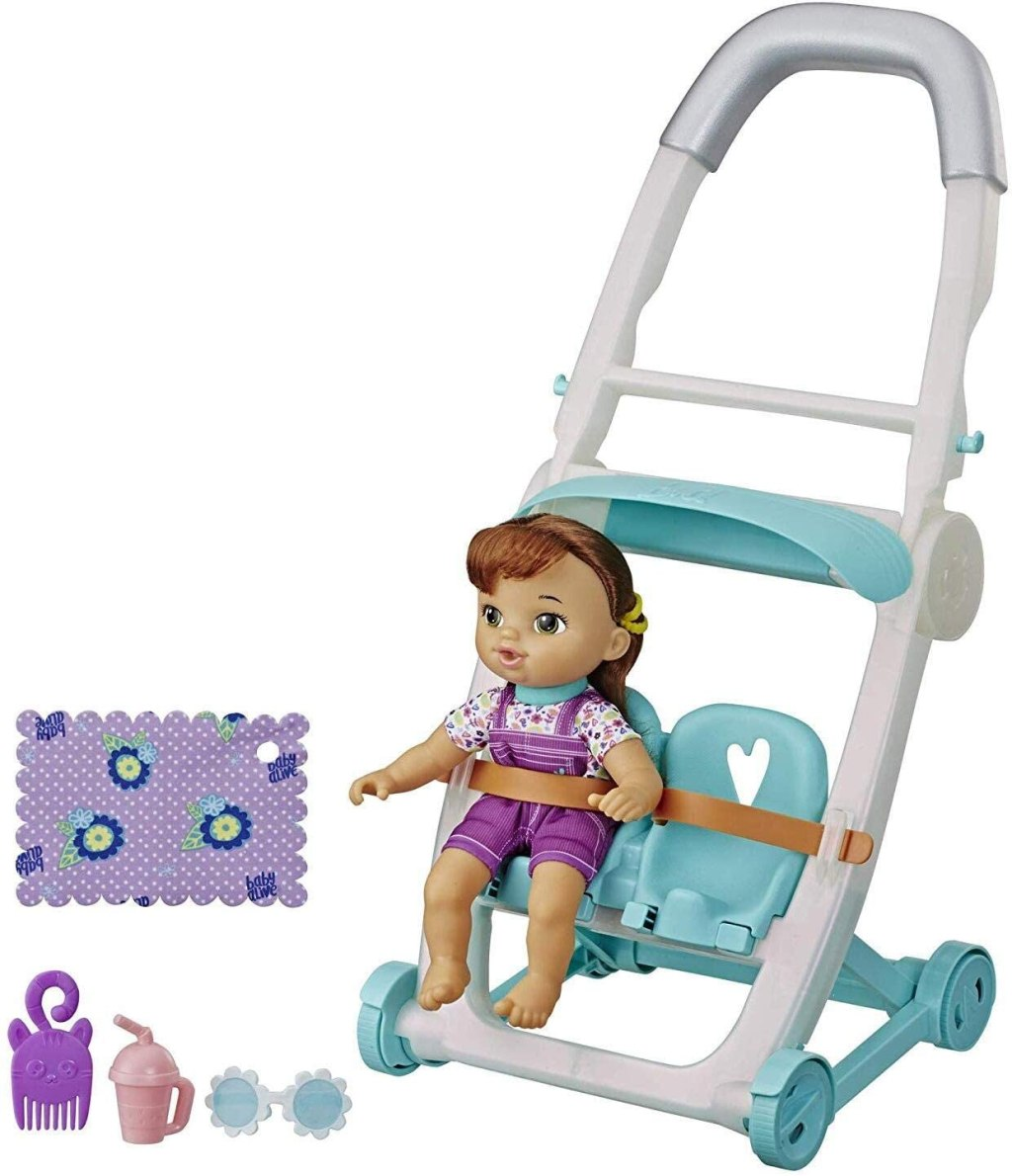 baby alive stroll n kick doll with stroller and accessories