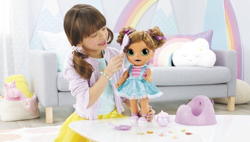 baby born magic surprise potty little girl brushing hair