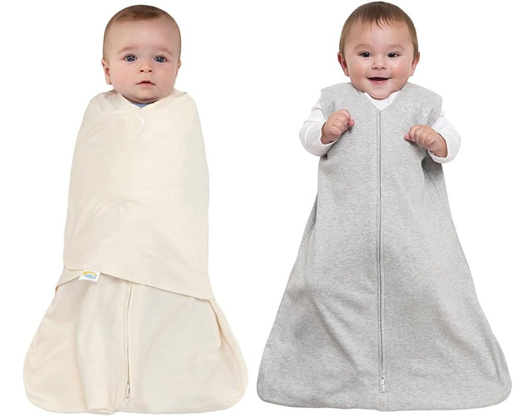 two babies in baby sleepsacks