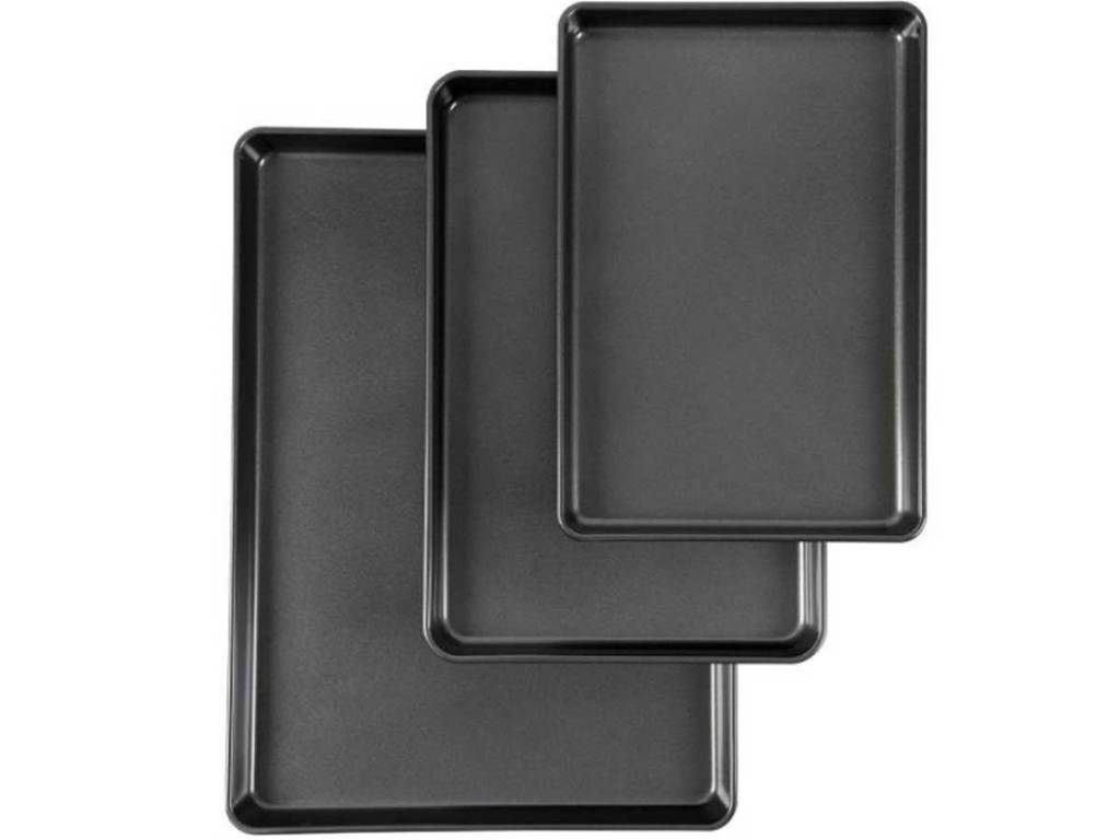 three cookie sheets