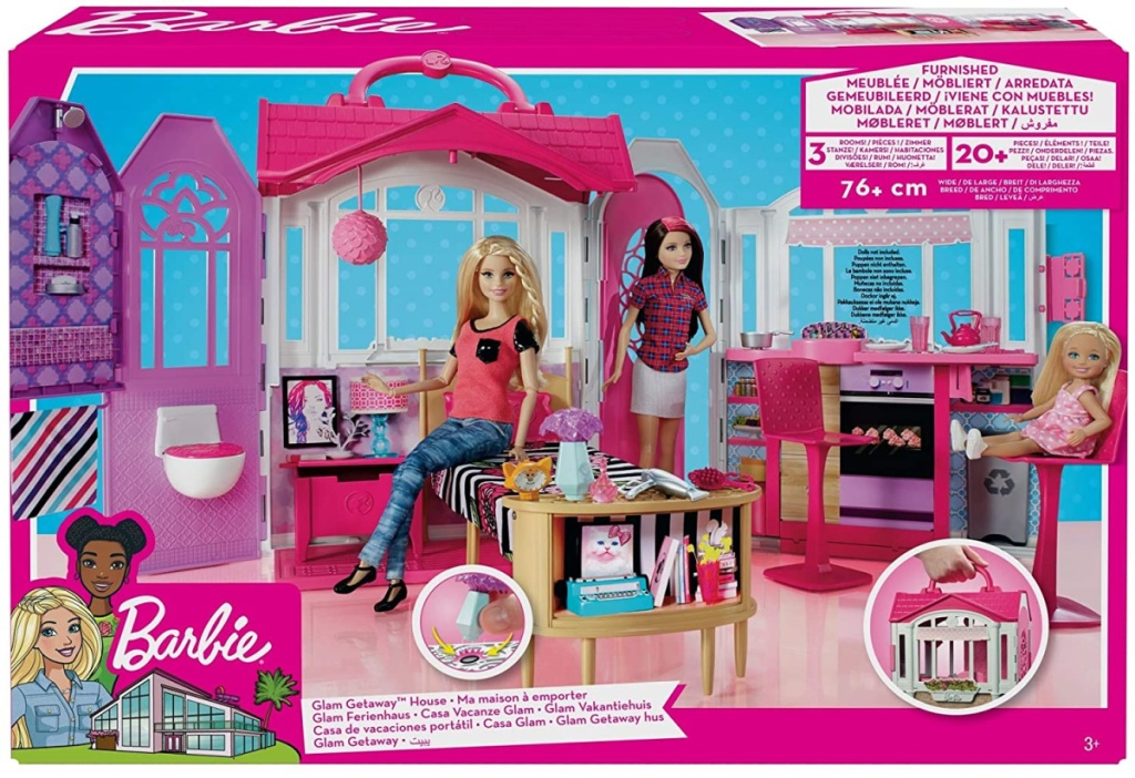 box with Barbie house in it