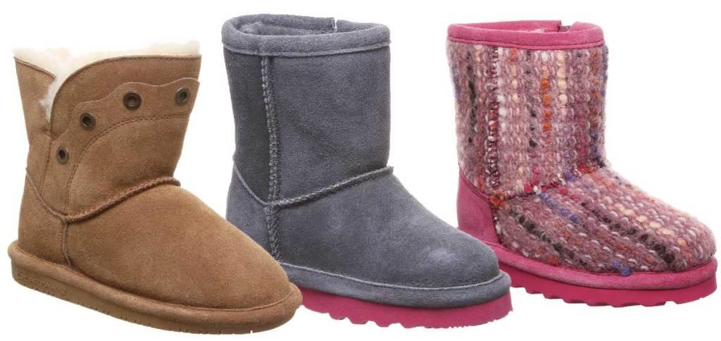 three pairs of kids boots