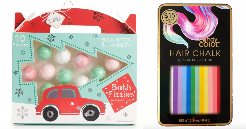 beauty gift sets bath fizzies and hair chalk