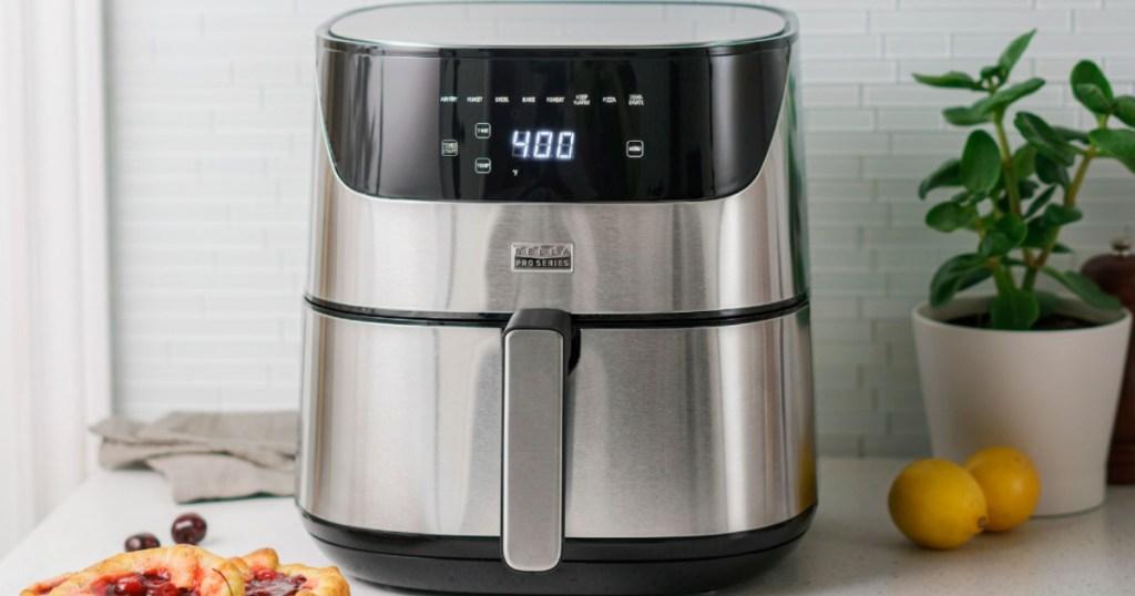 bella touchscreen air fryer on counter