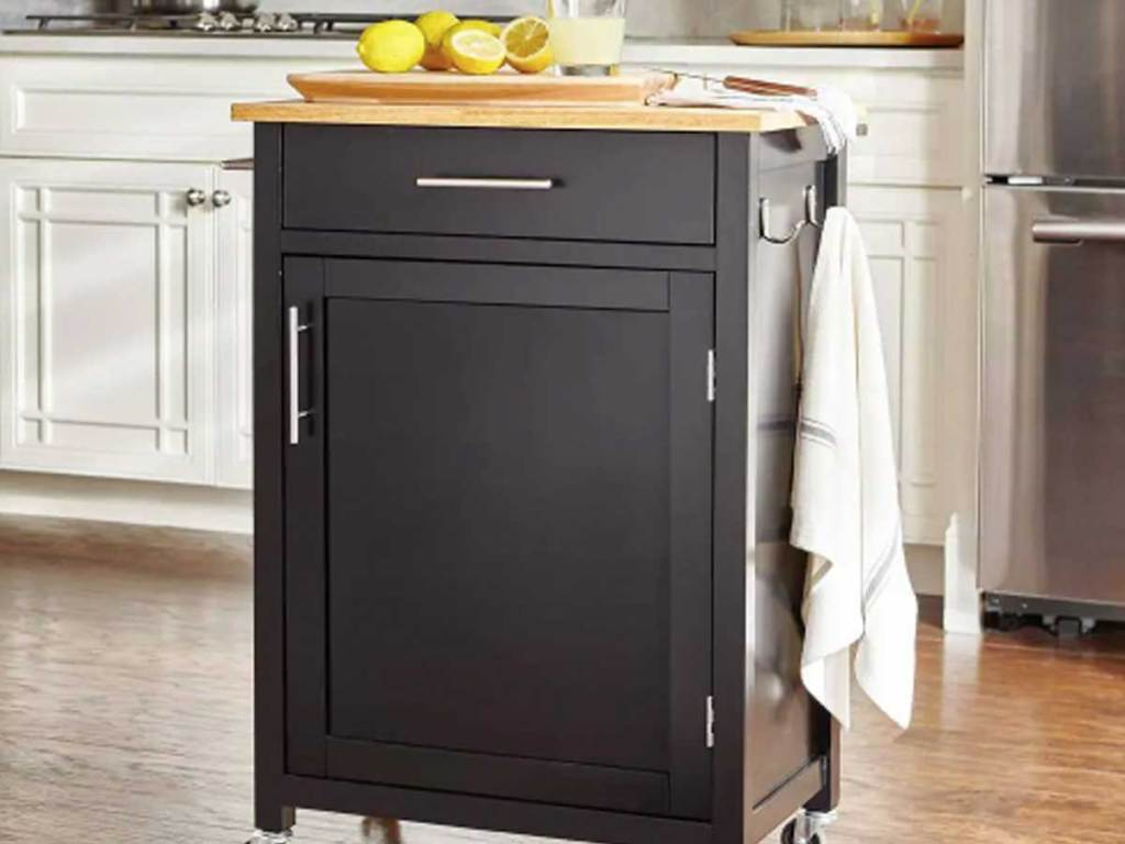 black kitchen cart with one drawer and cabinet