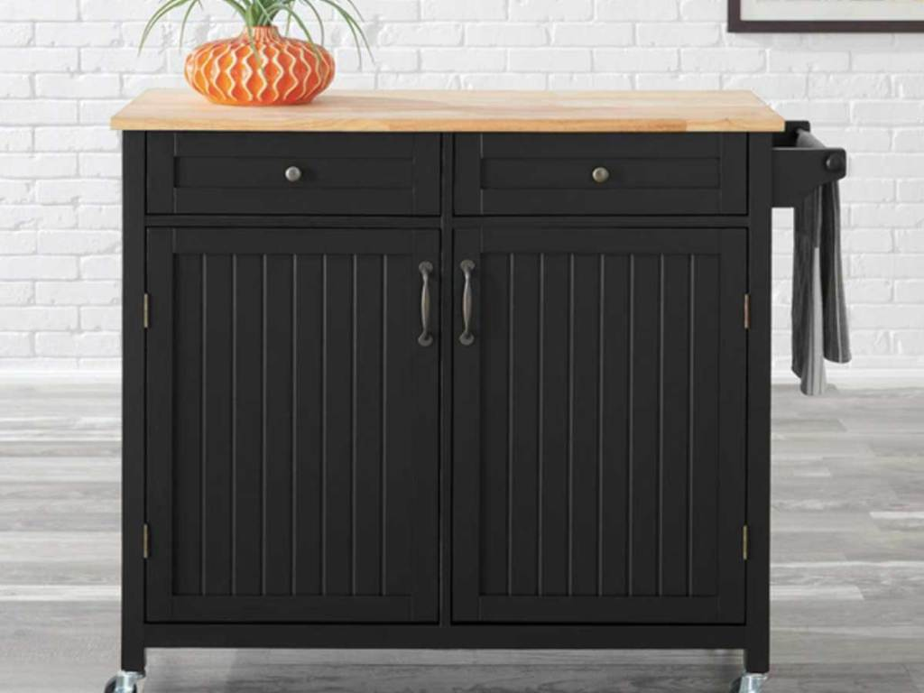 black kitchen cart with 2 drawers, cabinet and butcher block top