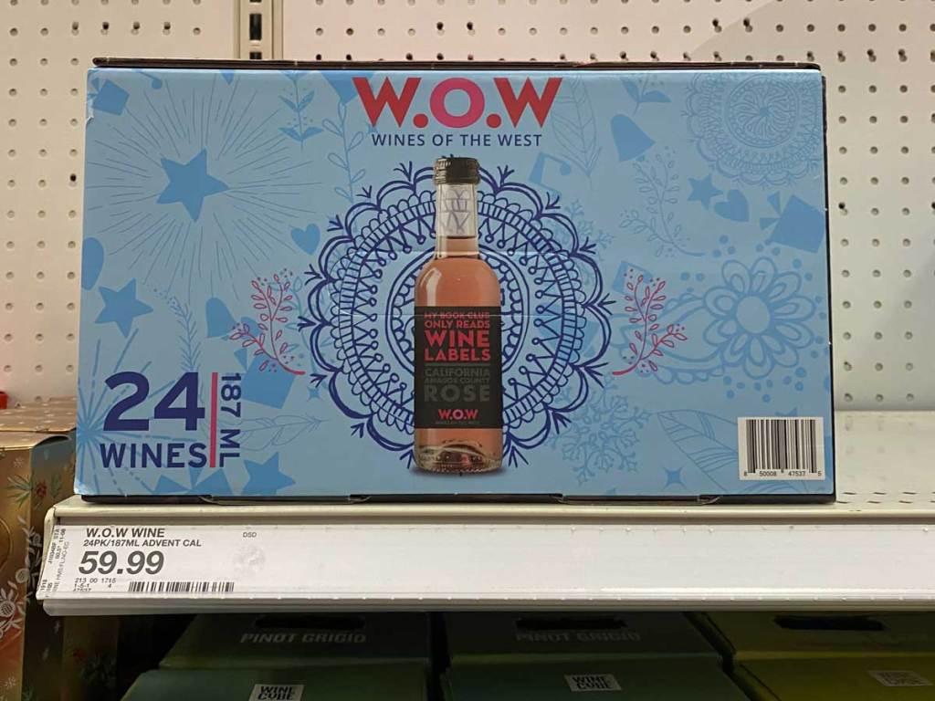 box of wine advent calendar on shelf in store