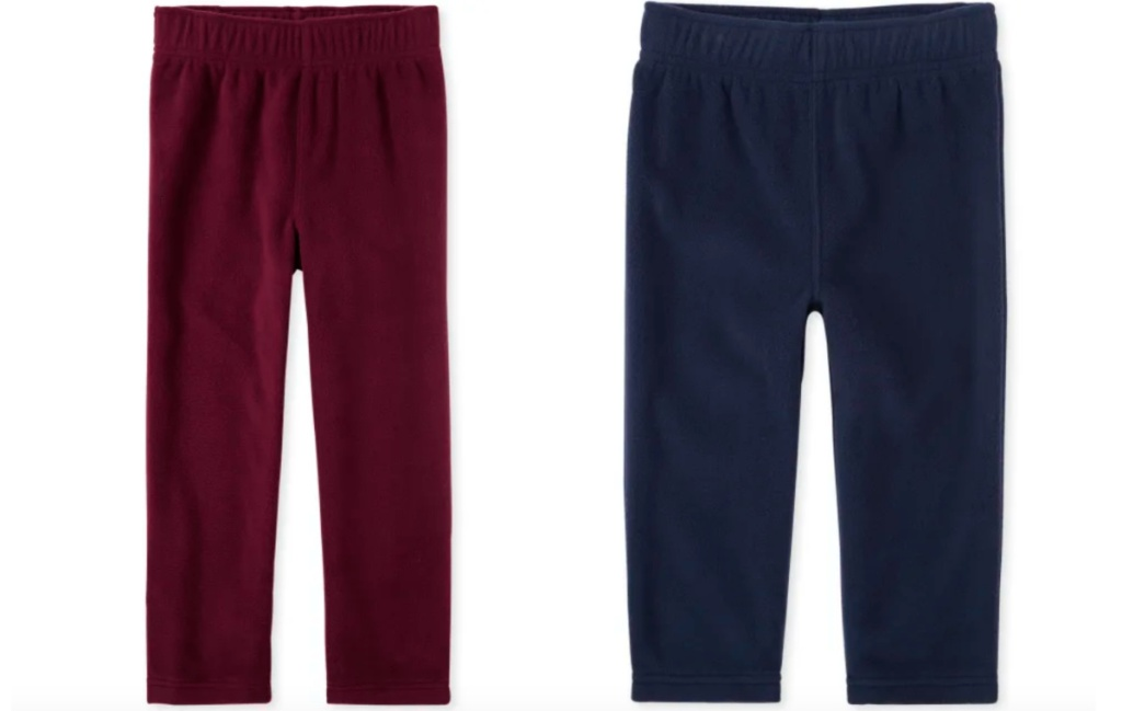boys fleece pants maroon and navy