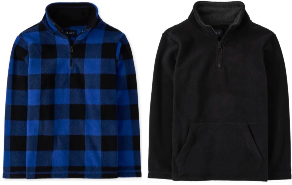 boys fleece pullover blue plaid and black