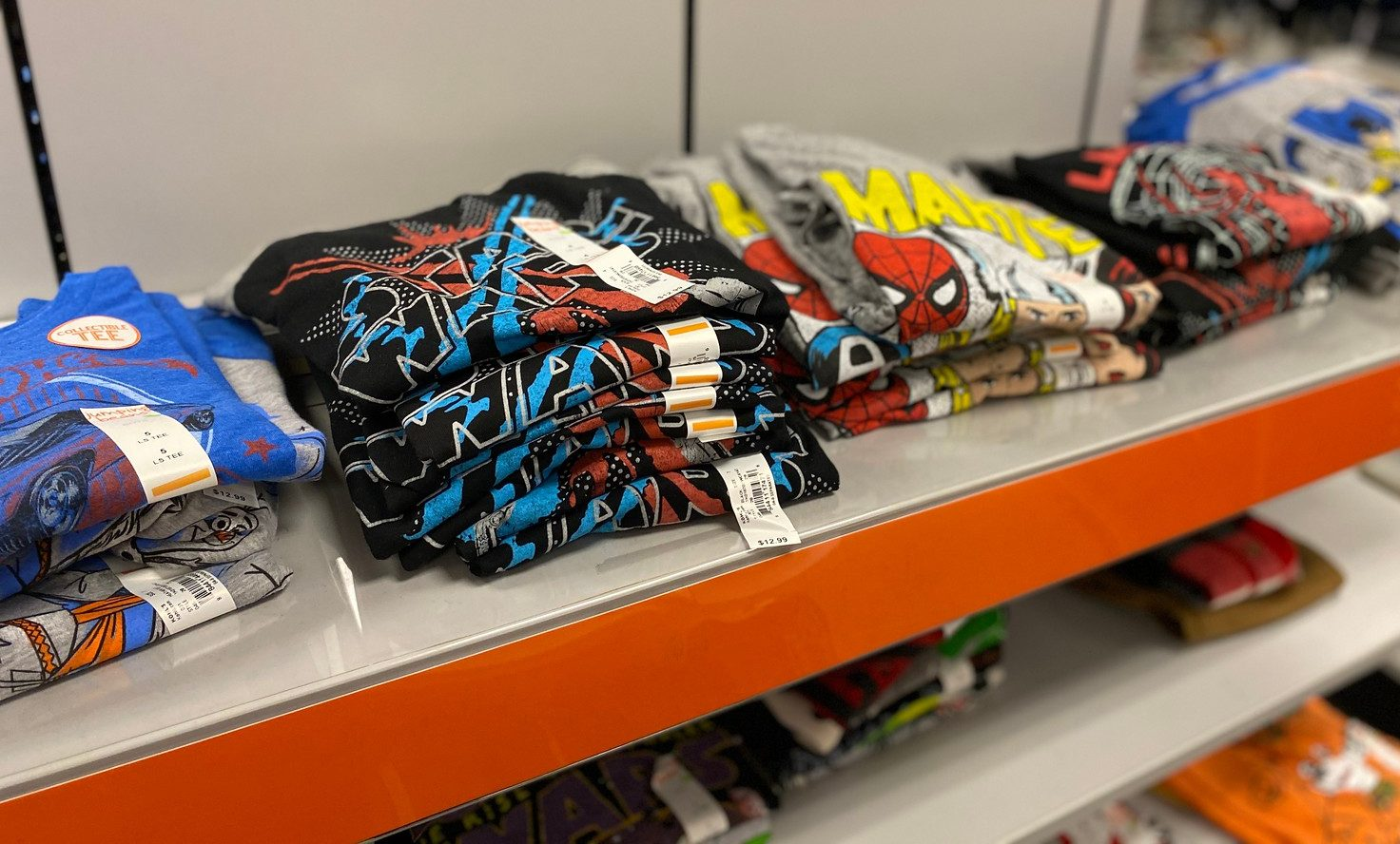 boys tees stacked in store at kohls
