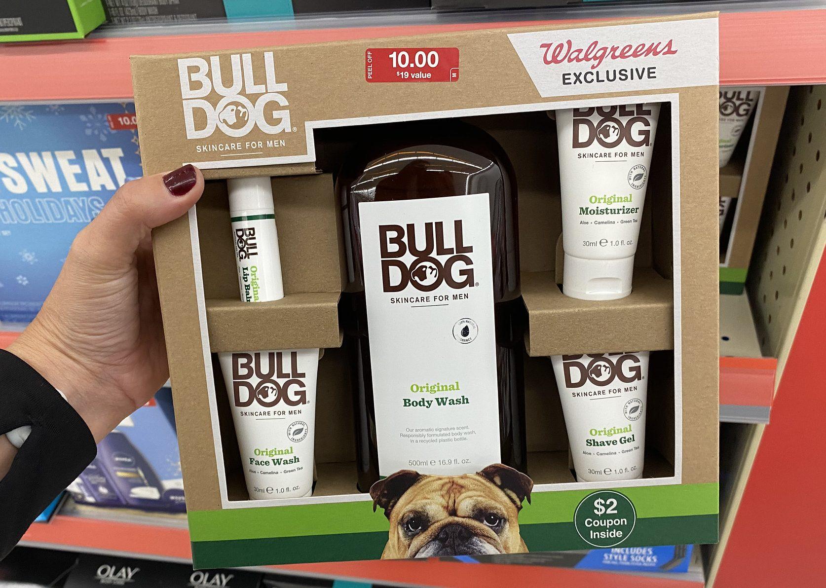 bulldog gift set in hand in store