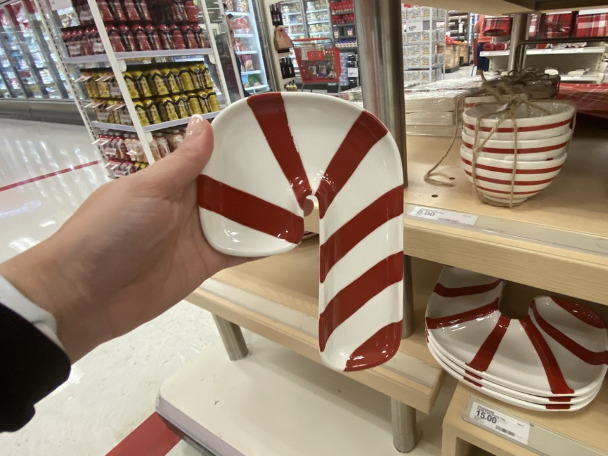 holding candy cane dish