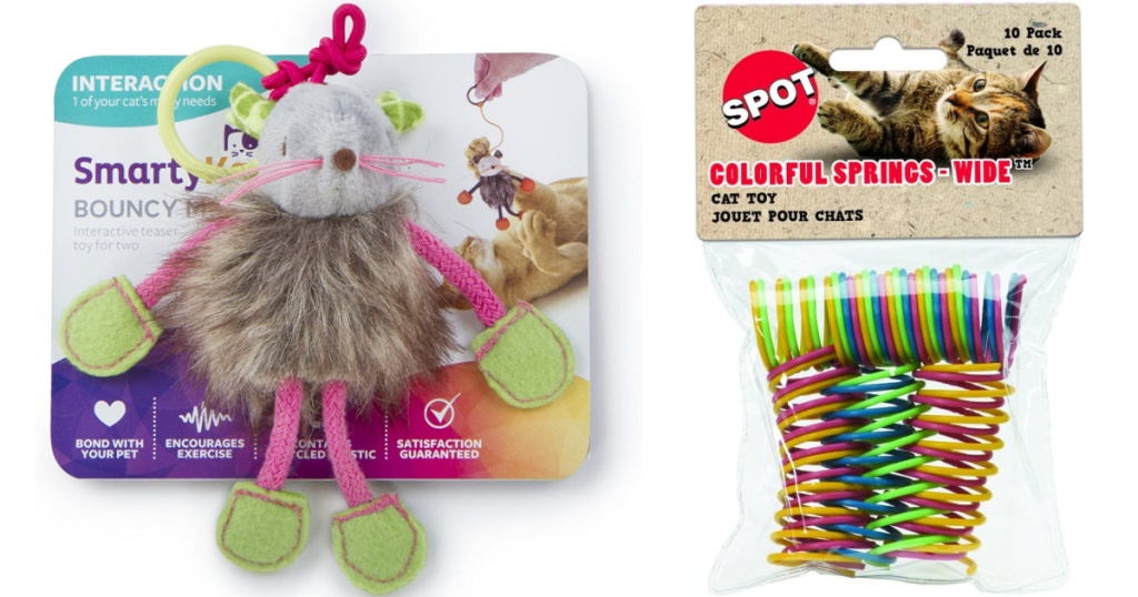 cat toys mouse and spring