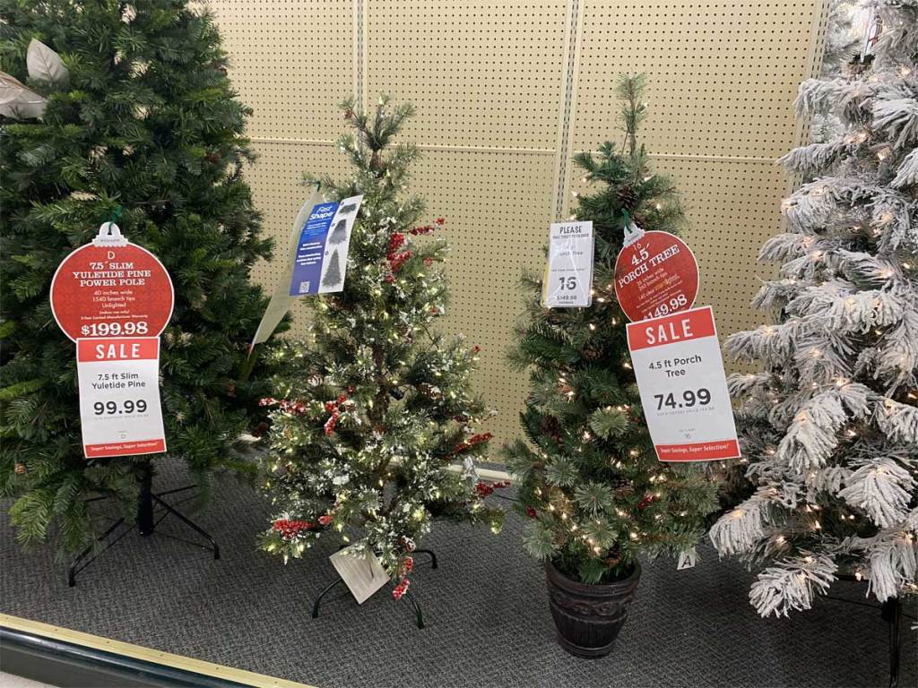 christmas trees on display in a store