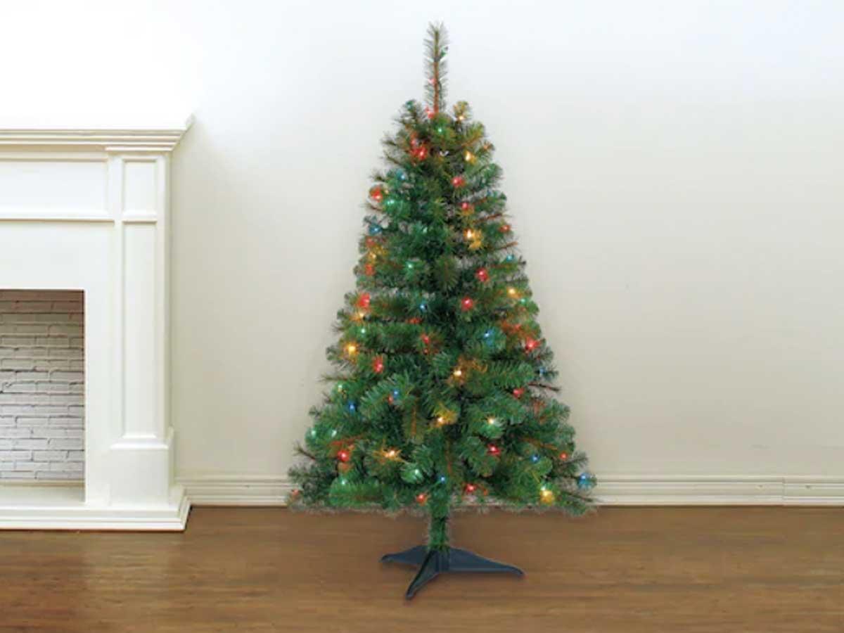 Pohon natal 4'dengan lampu beraneka warna
