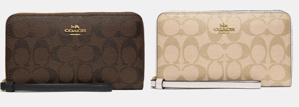 dompet ponsel besar pelatih berwarna coklat dan cokelat