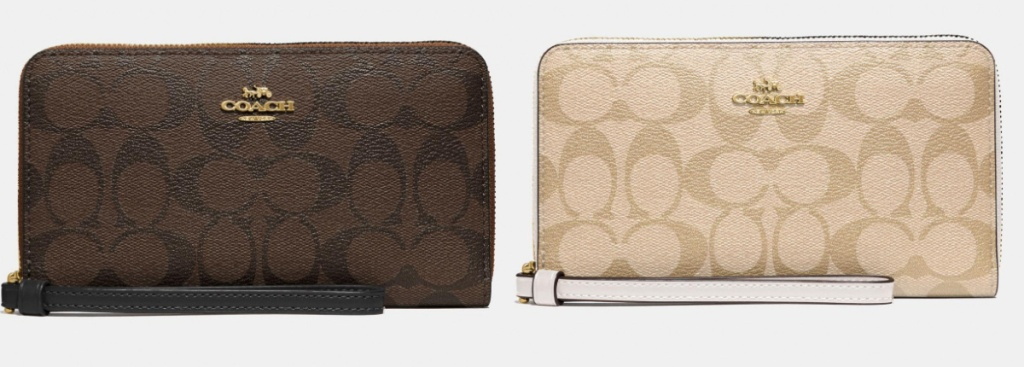 coach large phone wallet brown and tan