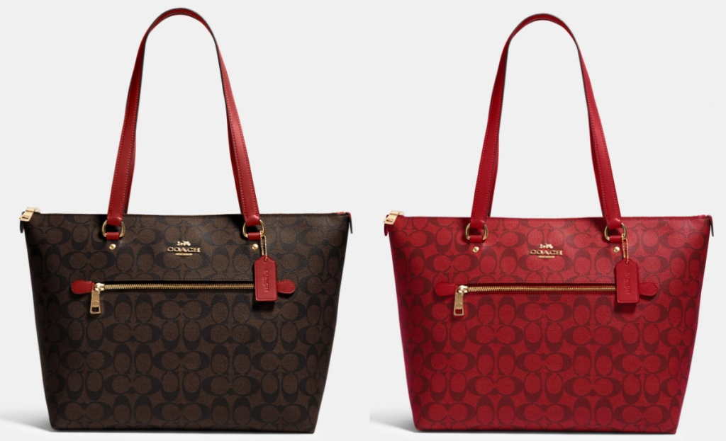 coach tote brown and red