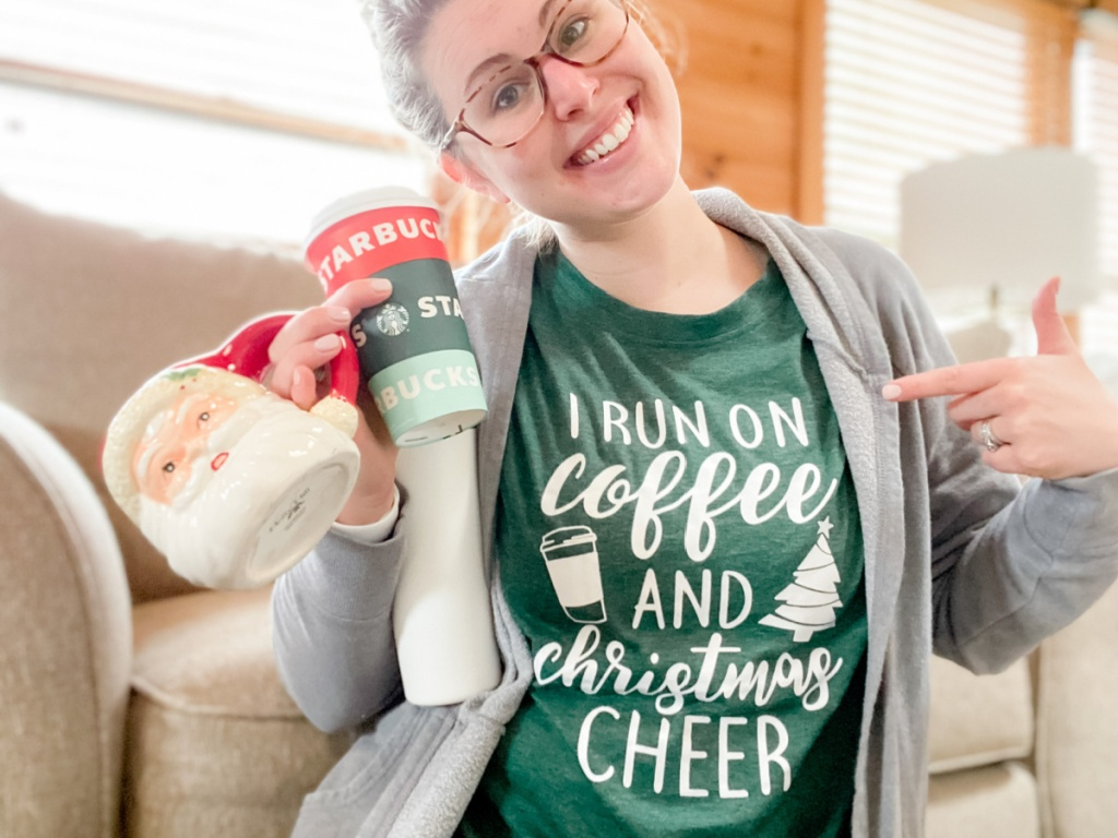woman with glasses wearing coffee christmas tee green