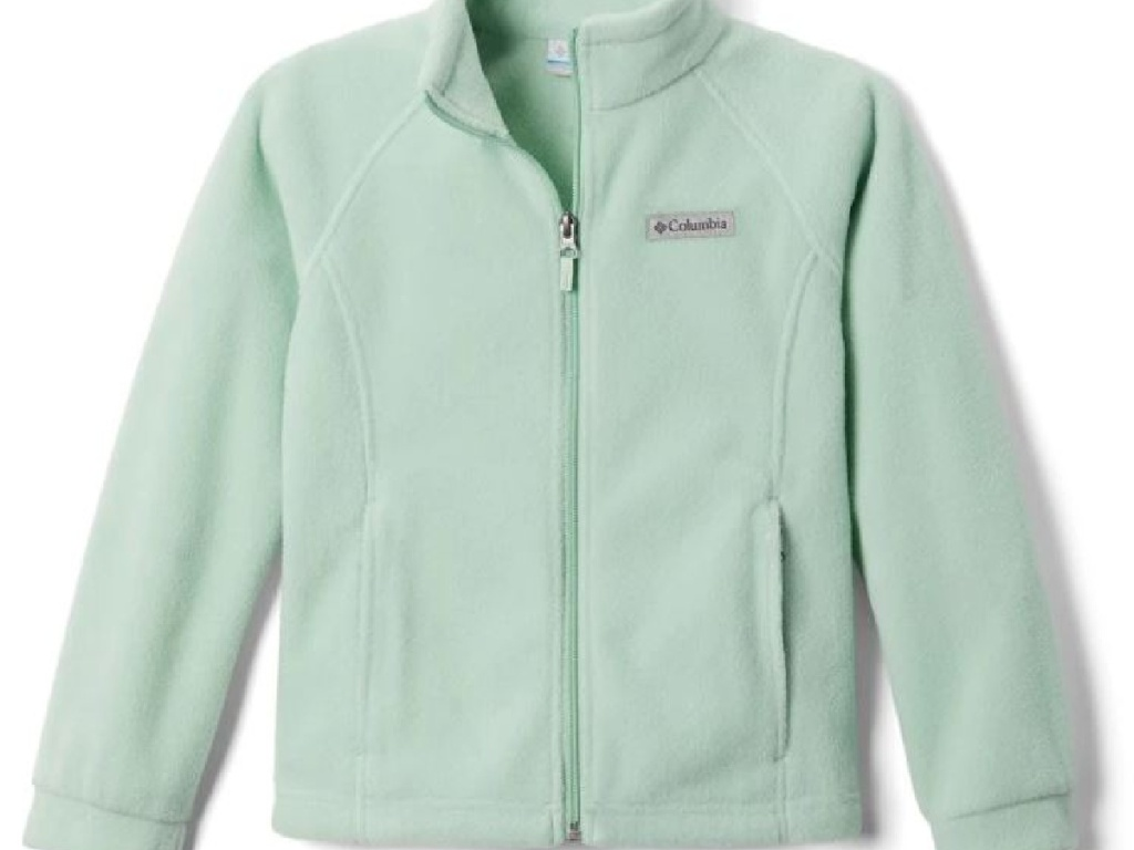 light teal colored fleece jacket on white background