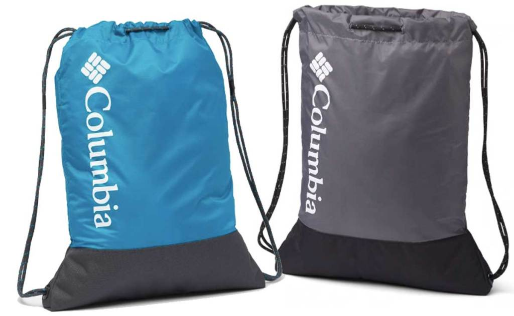 drawstring bags in blue and gray