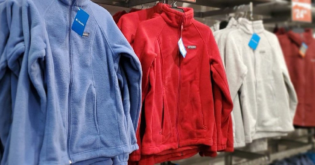 rows of children's Columbia brand jackets in store