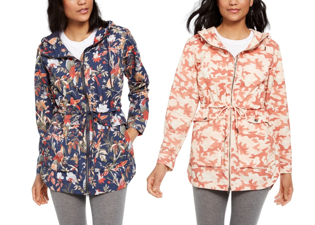 columbia printed jacket in floral and pink camo