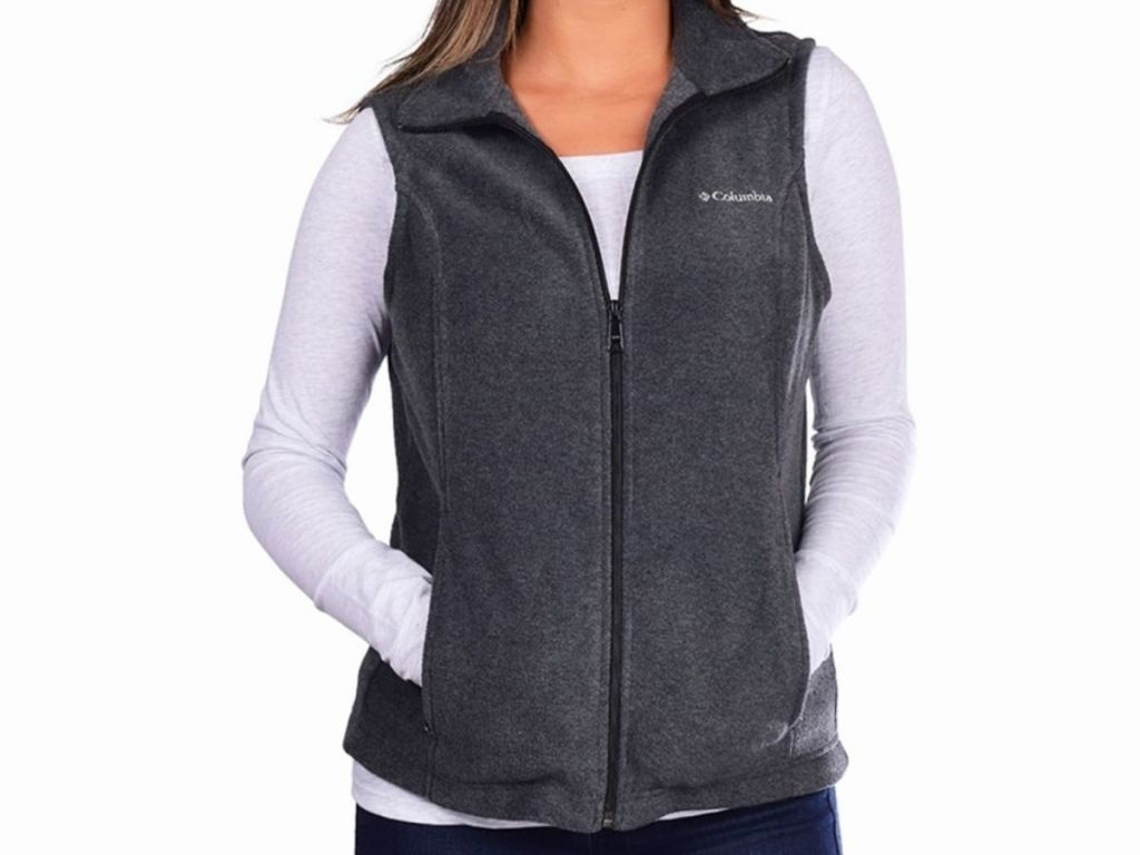woman wearing gray Columbia vest
