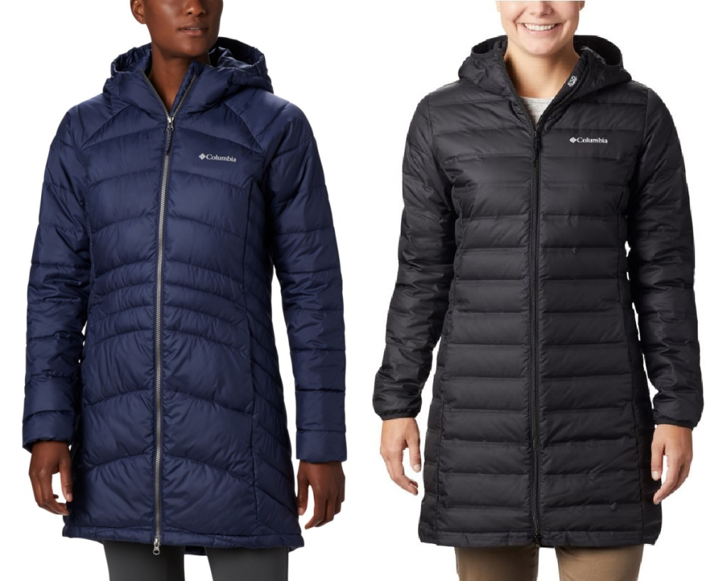 columbia womens long puffer jackets navy and black
