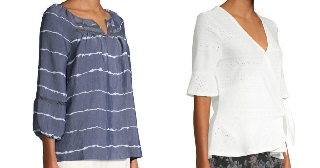 stok gambar wanita yang memakai kemeja, satu biru dan satu putih