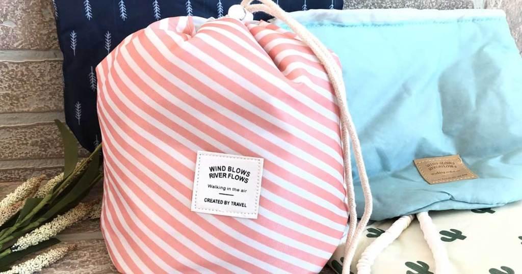 barrel shaped cosmetic bag in various design