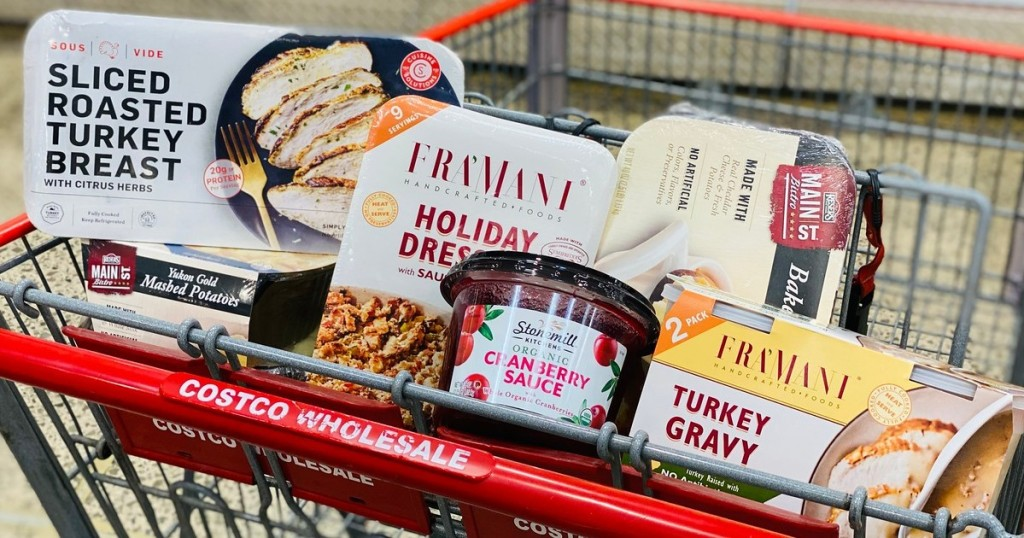Thanksgiving dinner foods in Costco cart