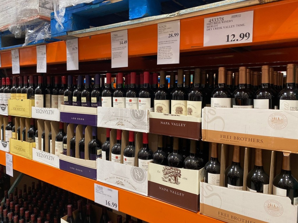 wine aisle at Costco